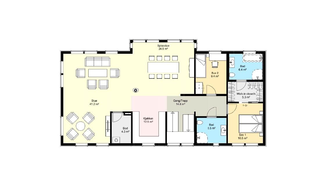 plantegning ferdighus med 5 soverom og utleieleilighet