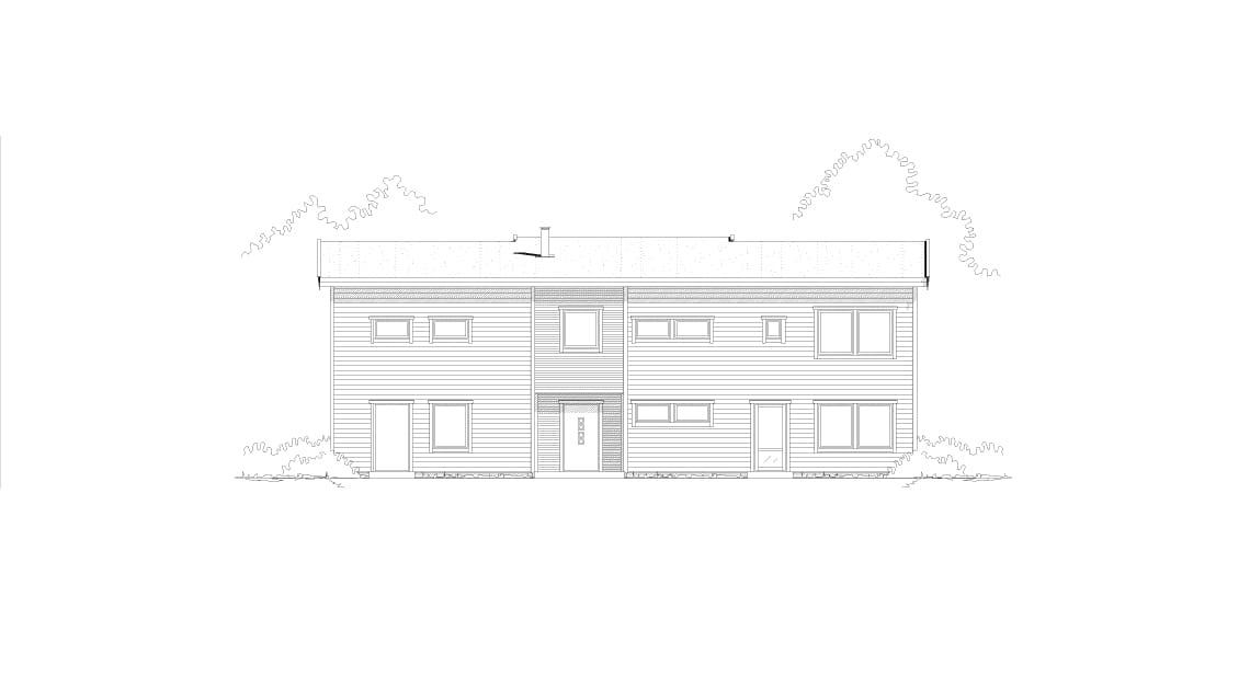 skisse av ferdighus med 5 soverom og utleiedel